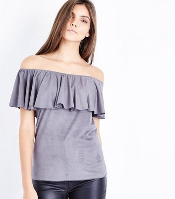 Mela Grey Suedette Bardot Neck Top