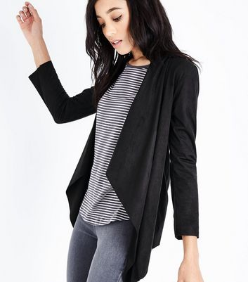 Mela Black Suedette Waterfall Jacket