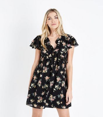 Black Floral Chiffon Frill Front Tea Dress