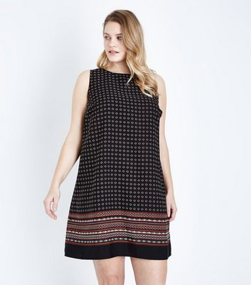 Curves Black Border Print Dress
