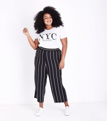 Curves Black Stripe Cropped Trousers