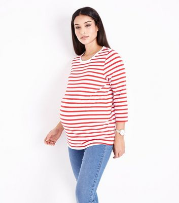 Maternity Red Stripe 3/4 Sleeve T-Shirt