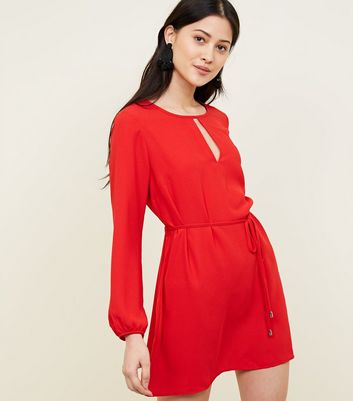 Petite Red Keyhole Belted Tunic Dress