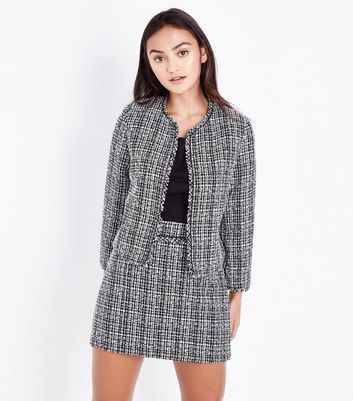 Petite Light Grey Boucle Fray Edge Jacket