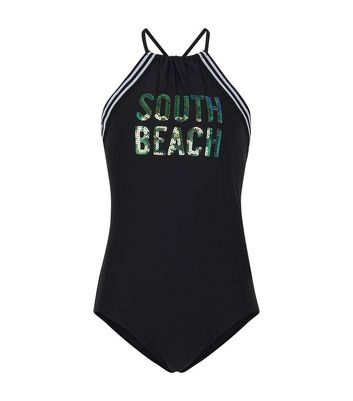 Teens Black Sequin South Beach Swimsuit