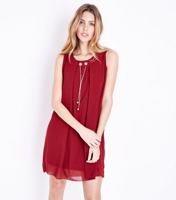 Cameo Rose - Robe tunique bordeaux à collier
