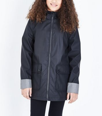 Teens Black Hooded Mac