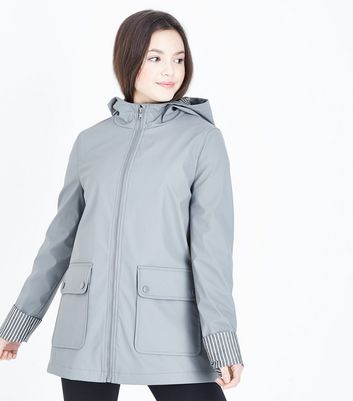 Teens Grey Hooded Mac
