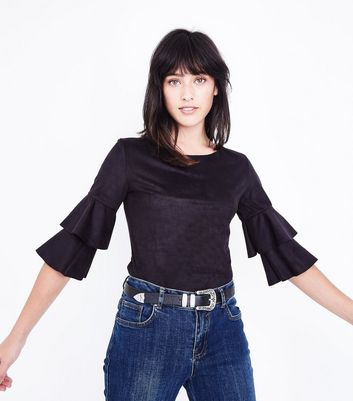 Mela Black Suedette Tiered Sleeve Top