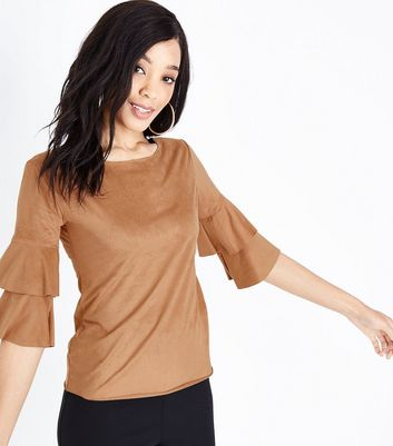 Mela Tan Suedette Tiered Sleeve Top