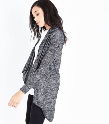 Mela Grey Marl Zip Pocket Waterfall Cardigan | New Look