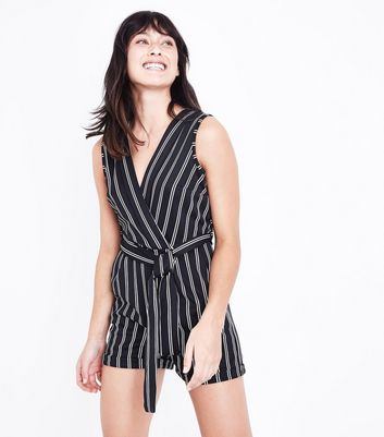 Mela Black Stripe Playsuit