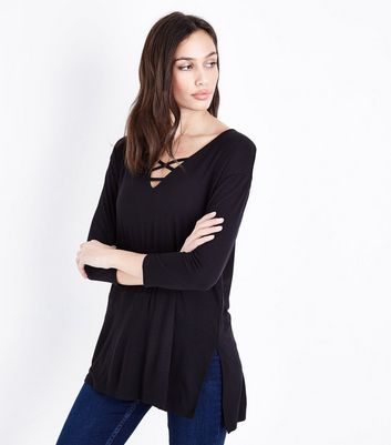 Black Lattice Front Tunic Top