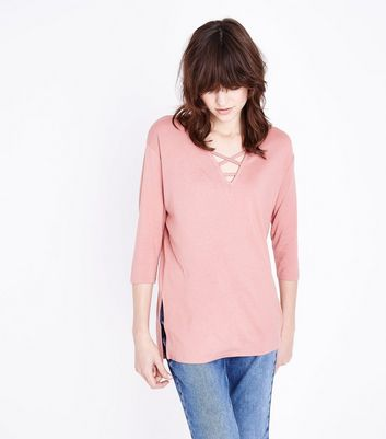 Pink Lattice Front Tunic Top