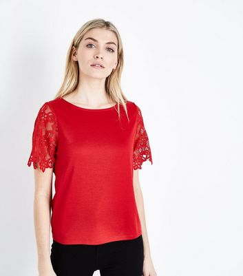 Red Lace Sleeve T-Shirt