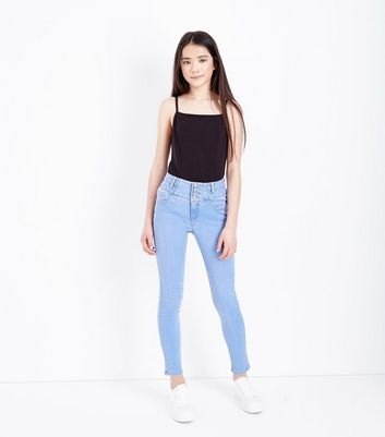 Teens Pale Blue High Waisted Skinny Jeans