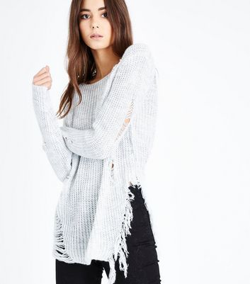 Cameo Rose Pale Grey Distressed Ladder Knit Jumper