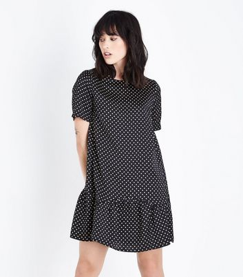 Black Polka Dot Print Drop Hem Dress
