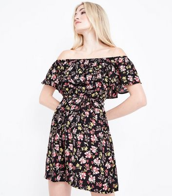 Black Floral Frill Trim Bardot Neck Dress