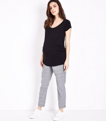 Maternity Grey Check Slim Leg Under Bump Trousers