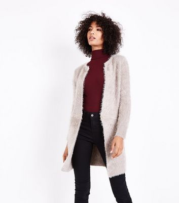 QED Brown Zip Waist Fluffy Cardigan