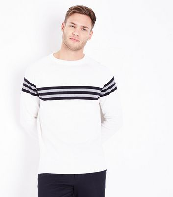 Cream Stripe Front Crew Neck Jumper by New Look