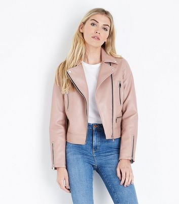 Pale Pink Leather-Look Biker Jacket