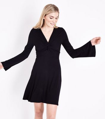 Black Twist Front Flared Sleeve Jersey Dress by New Look