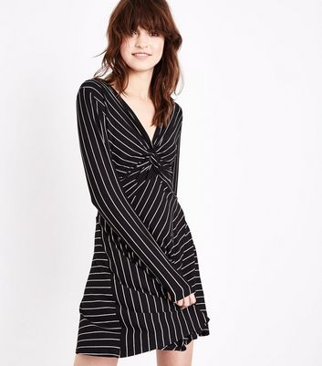 Black Stripe Twist Front Long Sleeve Dress
