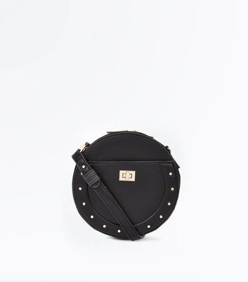 Black Stud Lock Round Cross Body Bag