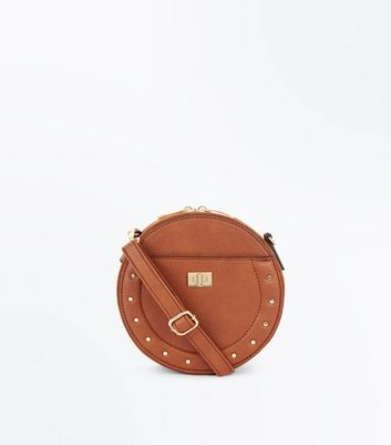 Tan Stud Lock Round Cross Body Bag