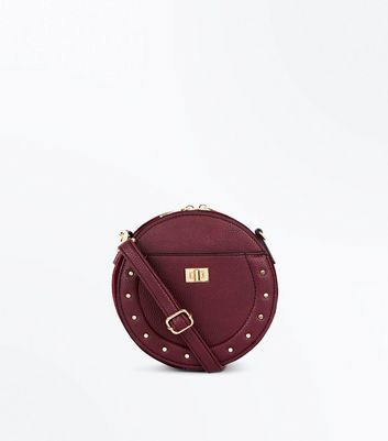 Burgundy Stud Lock Round Cross Body Bag