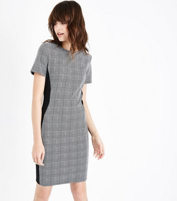 Grey Prince of Wales Check Panelled Bodycon Dress