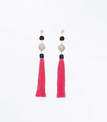 Pink Tassel and Diamante Embellished Drop Earrings