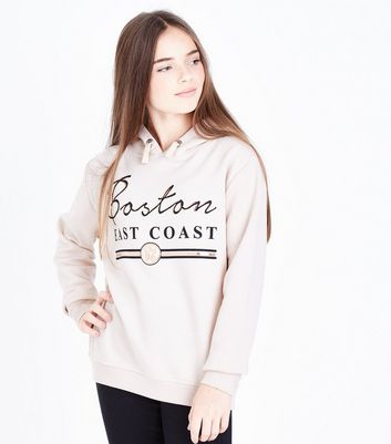 Teens Pale Pink Boston Slogan Print Hoodie