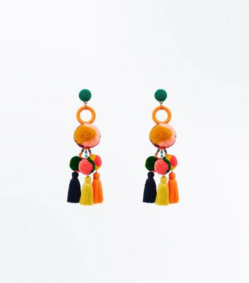 Rainbow Pom Pom Disc Tassel Drop Earrings