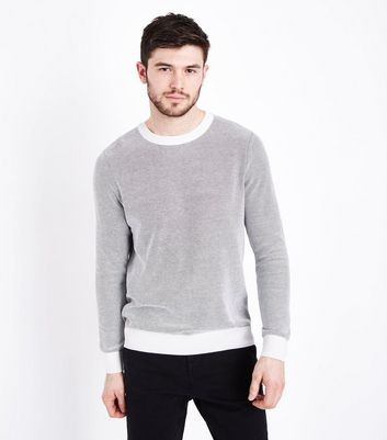 Cream Textured Contrast Crew Neck Jumper