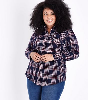 Curves Navy Check Pocket Front Shirt