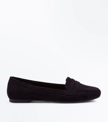 Teens Black Suedette Penny Loafers