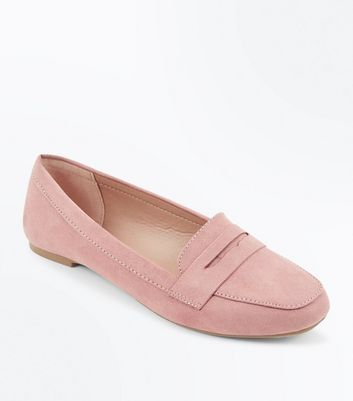 Teens Pink Suedette Penny Loafers