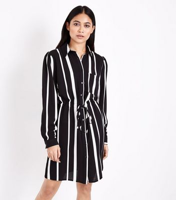 Petite Black Stripe Shirt Dress