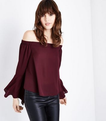 Burgundy Hanky Sleeve Bardot Neck Top