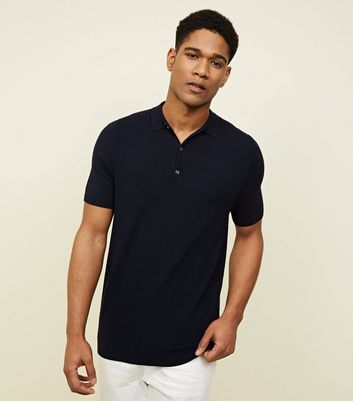Navy Knitted Slim Fit Polo Shirt