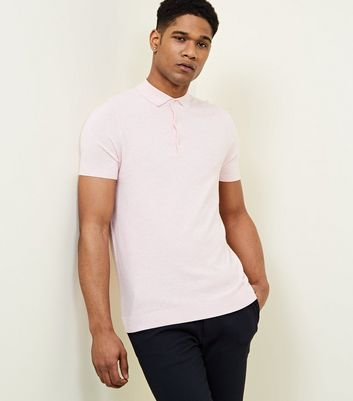 Pink Knitted Slim Fit Polo Shirt