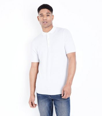 Polo Muscle Fit blanc en maille