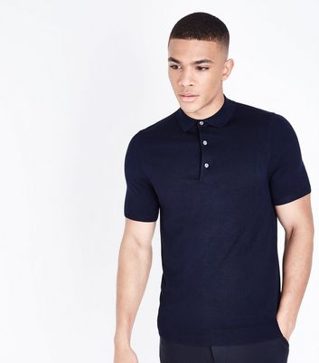 Polo Muscle Fit bleu marine en maille
