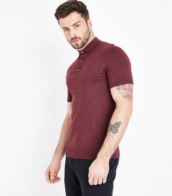 Burgundy Knitted Muscle Fit Polo T-Shirt