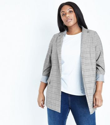 Curves Grey Check Longline Blazer