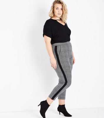 Curves Black Check Stripe Side Trousers