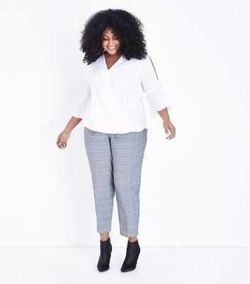 Curves Grey Check Tapered Trousers